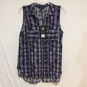 Rock & Republic Plaid Sleeveless High Low Top